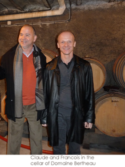 Claude and Francois in the cellar of Domaine Bertheau